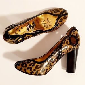 Naughty Monkey Animal Print Cut Out Heel Shoes
